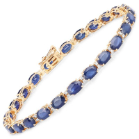 13.50 Carat Genuine Blue Sapphire and White Diamond 14K Yellow Gold Bracelet