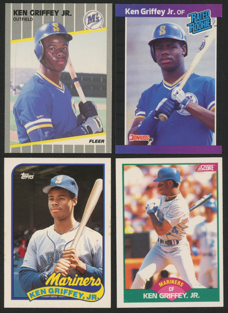 77ead188fd Lot of (4) Ken Griffey Jr. Baseball Cards with 1989 Score Rookie / Traded  #100T RC, 1989 Donruss #33 RC, 1989 Fleer #548 RC & 1989 Topps Traded #41T  RC