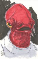 "Tom Hodges - Admiral Ackbar ""Star Wars"" Signed ORIGINAL 5.5"" x 8.5"" Color Drawing on Paper (1/1)"