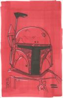 """Tom Hodges - Boba Fett """"Star Wars"""" Signed ORIGINAL 5.5"""" x 8.5"""" Color Drawing on Paper (1/1)"""