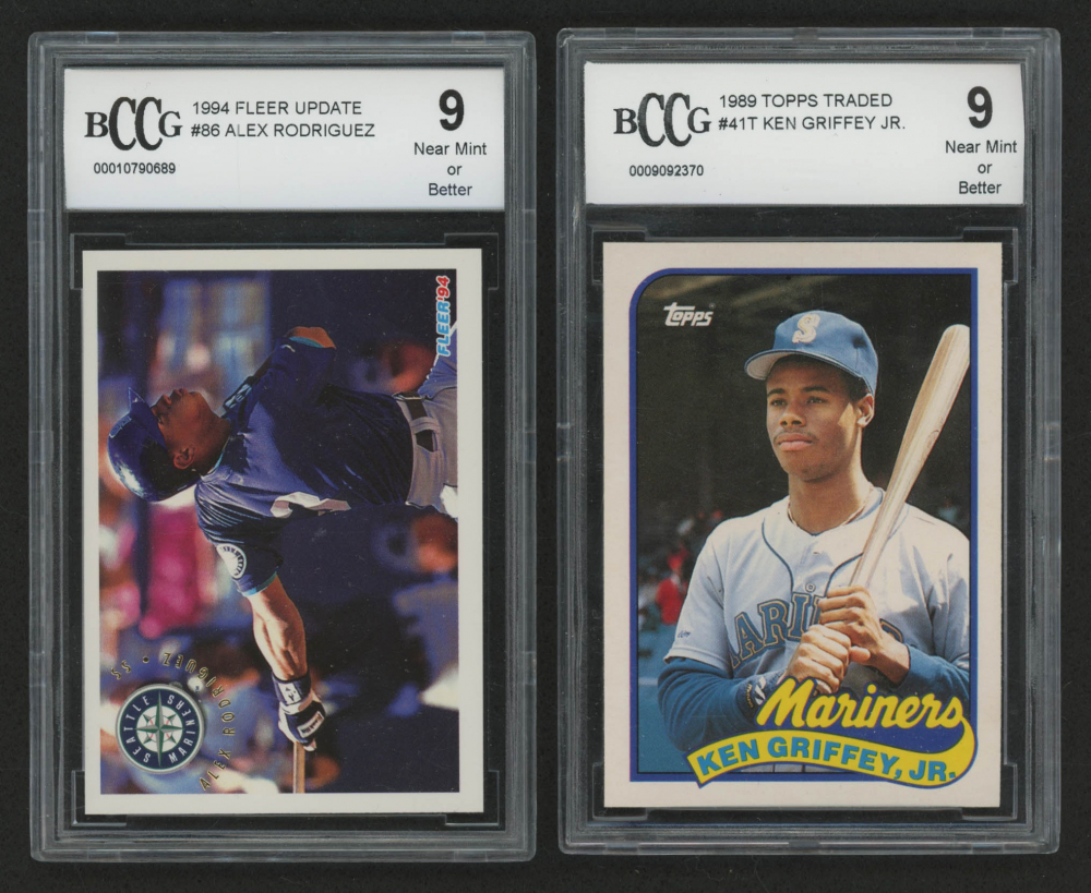 0788ee0e07 Lot of (2) BCCG Graded 9 Baseball Cards with 1994 Fleer Update #86 Alex  Rodriguez RC & 1989 Topps Traded #41T Ken Griffey Jr. RC