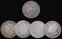 Lot of (5) Morgan Silver Dollars with 1883-S, 1885, 1885, 1890-O, & 1899-O