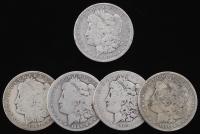 Lot of (5) Morgan Silver Dollars with 1883-O, 1886-O, 1887-O, 1889-O, & 1890-O at PristineAuction.com