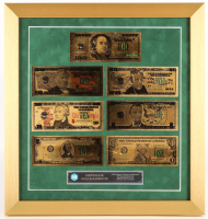 Set of (7) 24Kt Gold Plated U.S. Bills 17x18 Custom Framed Display at PristineAuction.com