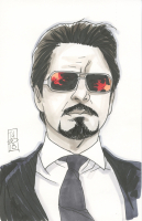 "Tom Hodges - Tony Stark - ""Iron Man"" Marvel Signed ORIGINAL 5.5"" x 8.5"" Color Drawing on Paper (1/1)"