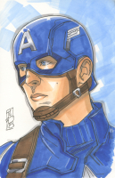 """Tom Hodges - Captain America - Marvel Signed ORIGINAL 5.5"""" x 8.5"""" Color Drawing on Paper (1/1)"""