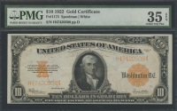 1922 $10 Ten Dollars U.S. Gold Certificate Large Size Bank Note (PMG 35) (EPQ)