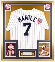 Mickey Mantle Signed Yankees 32x36 Custom Framed Cut Display (PSA LOA)