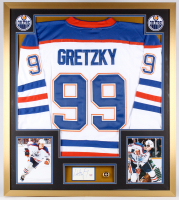 Wayne Gretzky Signed Oilers 32x36 Custom Framed Cut Display with Championship Ring (PSA LOA)