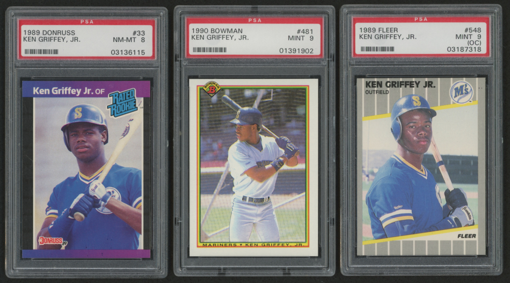 f37a6149d7 main_1546467411-Lot-of-3-PSA-Graded-Ken-Griffey-Jr -Baseball-Cards-With-1989-Fleer-548-RC-PSA-9-OC-1990-Bowman-481-PSA-9 -1989-Donruss-33-Rated-Rookie-RC-PSA- ...
