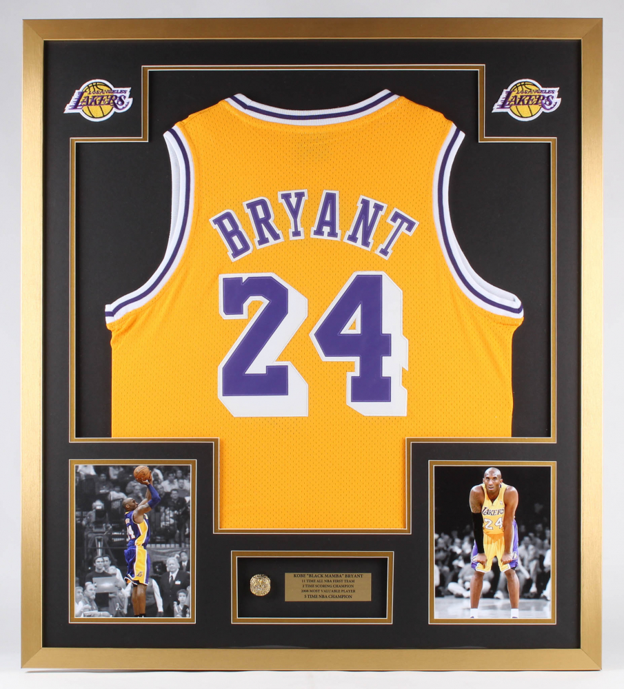 Kobe Bryant Lakers 32x36 Custom Framed Jersey Display with Championship Ring at PristineAuction.com