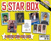 "Sportscards.com ""5 STAR"" BASKETBALL CARD MYSTERY BOX – 5+ HITS PER BOX!"