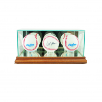 Premium Triple Baseball Display Case with Mirrored Walnut Wood Base & Mirrored Back at PristineAuction.com