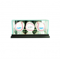 Premium Triple Baseball Display Case with Mirrored Black Wood Base & Mirrored Back at PristineAuction.com