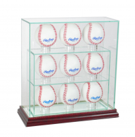 Premium 7-9 Baseball Upright Glass Display Case with Mirrored Cherry Wood Base (New) at PristineAuction.com