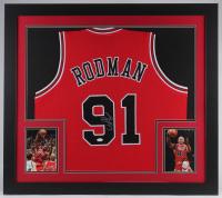 Dennis Rodman Signed Bulls 31x35 Custom Framed Jersey (JSA COA)