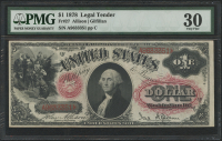 1878 $1 One Dollar Legal Tender Large Bank Note (PMG 30)