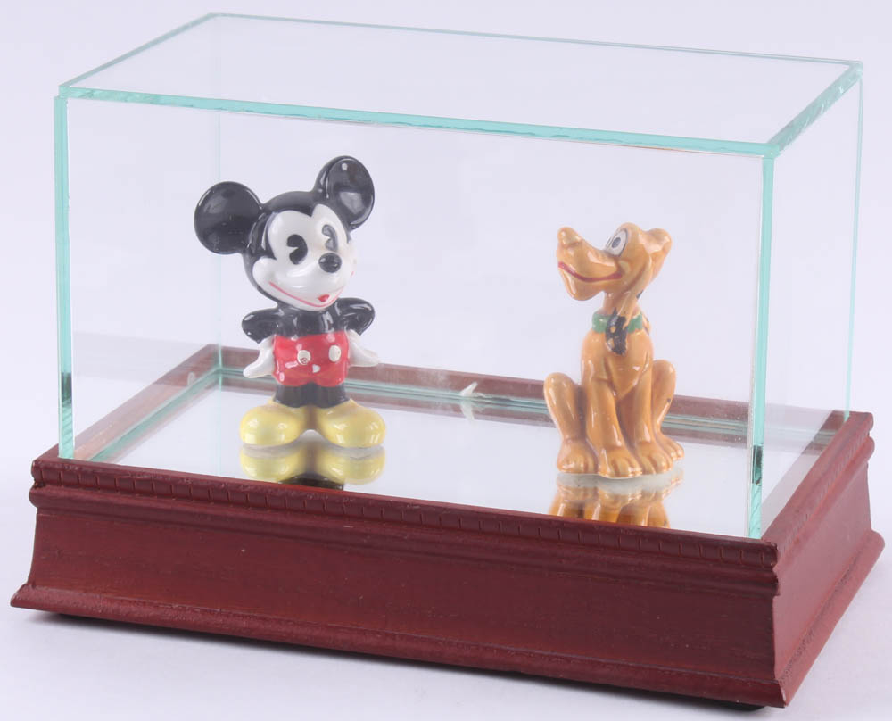 Vintage Disney Mickey Mouse & Pluto Ceramic Figurines with High Quality Display Case at PristineAuction.com
