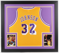 Magic Johnson Signed Lakers 31x35 Custom Framed Jersey (JSA COA)