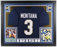 Joe Montana Signed Notre Dame Fighting Irish 35x43 Custom Framed Jersey Display (JSA COA)