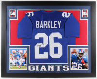 Saquon Barkley Signed Giants 35x43 Custom Framed Jersey (JSA COA)