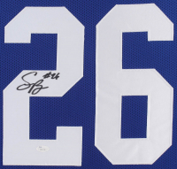 Saquon Barkley Signed Giants 35x43 Custom Framed Jersey (JSA COA) at PristineAuction.com