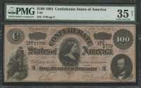 1864 $100 One Hundred Dollars Confederate States of America Richmond CSA Bank Note Bill (T-65) (PMG 35)