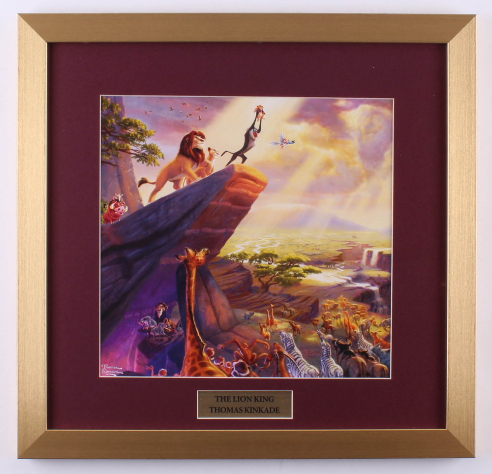 "Thomas Kinkade Walt Disney's ""The Lion King"" 17.5x18 Custom Framed Print Display at PristineAuction.com"