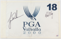 Tiger Woods & Bob May Signed 2000 PGA Valhalla Championship Pin Flag (PSA LOA)