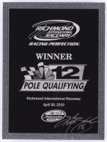 Kyle Busch Signed NASCAR Team Issued 2010 Richmond Pole Qualifying Trophy Plaque (PA COA)