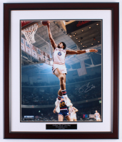 Julius Erving Signed 76ers 16x20 Custom Framed Photo Display (Steiner COA)