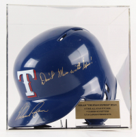 """Nolan Ryan Signed Rangers Batting Helmet Inscribed """"Don't Mess With Texas"""" with Display Case (PSA COA)"""