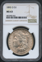 1892-O $1 Morgan Silver Dollar (NGC MS 63)