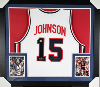 Magic Johnson Signed 31x35 Custom Framed Jersey (Beckett COA)