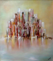 "Nicole Denarie Signed ""Reflex City"" 31x35 Original Oil Painting on Canvas (PA LOA)"