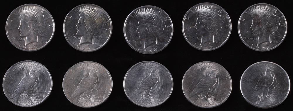Lot of (10) Uncirculated Peace Silver Dollars with (5) 1922, (3) 1923, (1) 1924 & (1) 1925 at PristineAuction.com