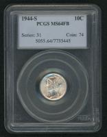 1944-S 10¢ Mercury Silver Dime (NGC MS 65 FB)