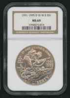 1991-1995-D W.W II Silver Dollar (NGC MS 69)