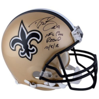 "Drew Brees Signed Saints Full-Size Authentic On-Field Helmet Inscribed ""NFL Pass Record 10/8/18"" (Fanatics Hologram) at PristineAuction.com"