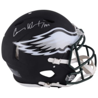 Carson Wentz Signed Eagles Custom Matte Black Full-Size Authentic On-Field Speed Helmet (Fanatics Hologram)