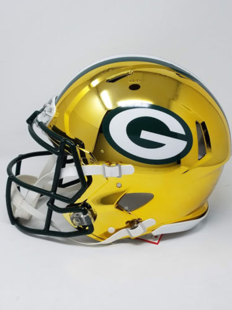 1653888fc Aaron Rodgers Signed Packers Chrome Full-Size Authentic On-Field Speed  Helmet (Steiner
