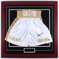 """Roberto Duran Signed """"Hands of Stone"""" 31.5x31.5 Custom Framed Boxing Trunks Display (Authentic Signings COA)"""