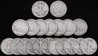 Lot of (20) 1941-1947 Walking Liberty Silver Half Dollars