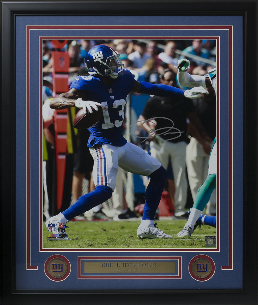 Odell Beckham Jr. Signed New York Giants 22x27 Custom Framed Photo Display ( JSA COA). JSA Witnessed 343640138