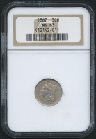 1867 3¢ Three Cent Nickel (NGC MS 63)