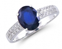 2.81 Ct Certified Blue Sapphire & Diamond 14k Gold Ring