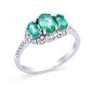 1.08 Ct Certified Emerald & Diamond 14k Gold Ring