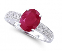 2.84 Ct Certified Ruby & Diamond 14k Gold Ring