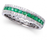 0.63 Ct Certified Emerald & Diamond 14k Gold Ring