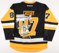 Sidney Crosby Signed Penguins Captain Jersey with Custom Hand-Painted 2017 Stanley Cup Champions Portrait (JSA LOA) at PristineAuction.com